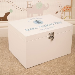 Personalised Christening Keepsake Box for a Boy. Rabbit Design