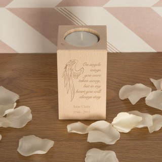 Angel Wings Wooden T-Light Personalised Memorial Gift