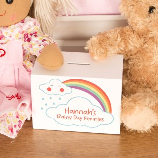Rainy Day Personalised Wooden Savings Bank