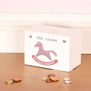 Baby Girls Bespoke Rocking Horse Wooden Money Box