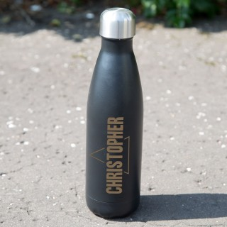 Laser Engraved Personalised Thermos Bottle. Triangle Design. Hot or Cold Drinks