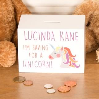 Unicorn Wooden Money Box Personalised